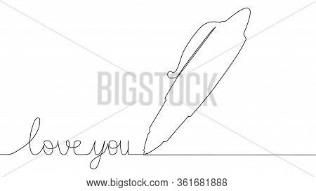 One Line Drawing. The Pen Writes Love You. Solid Line Art. Ball Pen. Biro. Hand Drawn Minimalistic D