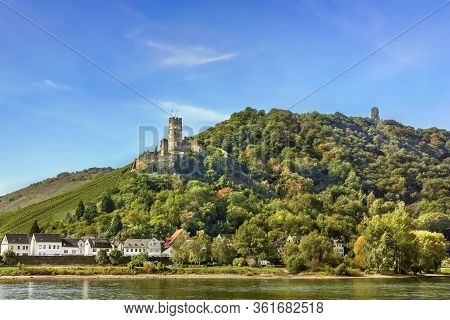 View Of  Furstenberg Castle On The High Bank Of The Rhine River, Germany
