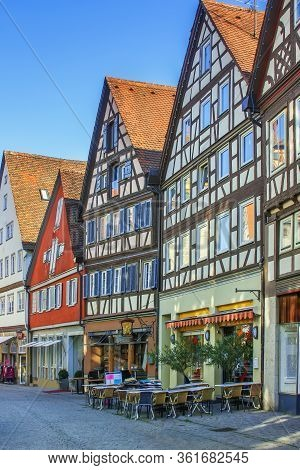 Street With Historical Half-timbered Houses In Schwabisch Hall, Germany
