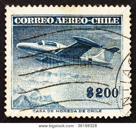 Postage stamp Chile 1955 Beechcraft Monoplane
