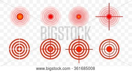 Pain Circle Red Icon For Medical Painkiller Drug Medicine. Vector Red Circles Target Spot Symbol For