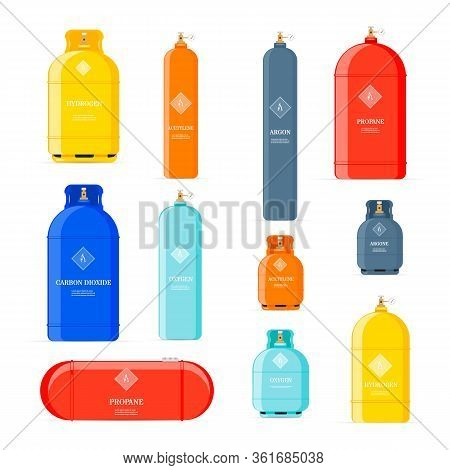 Gas Cylinders Icons. Petroleum Safety Fuel Metal Tank Of Helium Butane Acetylene Vector Cartoon Obje