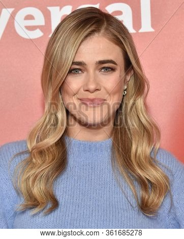LOS ANGELES - JAN 11:  Melissa Roxburgh on the red carpet at the NBCUniversal Winter TCA 2020 on January 11, 2020 in Pasadena, CA