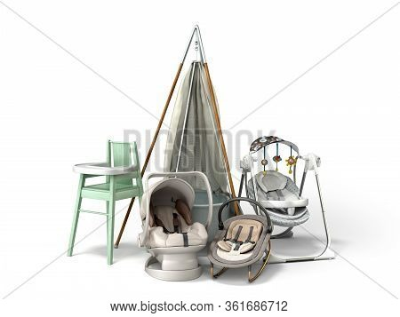 Children's Products Presentation For Advertising Children's Furniture And Fixtures 3D Render
