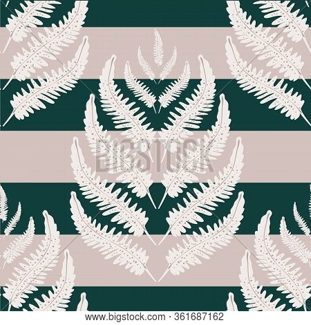 Fern Leaves Vector Seamless Pattern Background. Stylized Forest Plant Frond On Striped Black Pink Ba