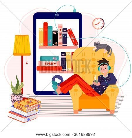 Man Stay Home And Listening Audiobook. Literature Fan Enjoy Ebook In Cozy Armchair. Online Library F