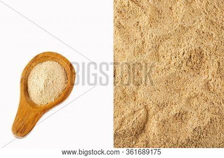Lepidium Meyenii - Maca Aphrodisiac Powder. White Background