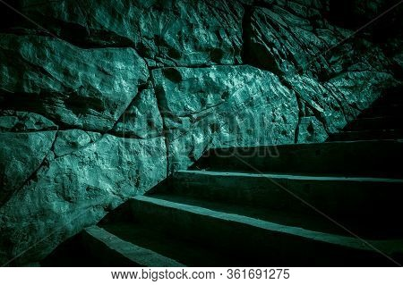 Darkness And Horror, Ghost House. Dark Stone Ruined Old Staircase From The Basement With Mystical Sh