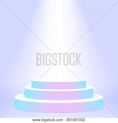 Stage Podium Award For Champion On Purple Background, Pedestal Show For Victory Position And Light E