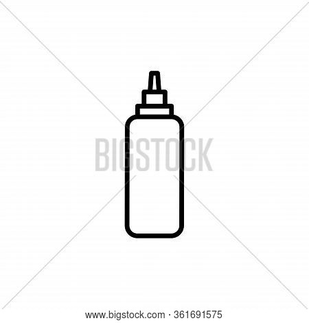 Vector Sauce Bottle Outline Icon. Ketchup And Mustard Bottle.