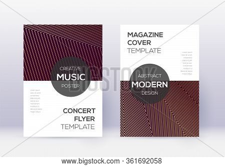 Modern Cover Design Template Set. Gold Abstract Lines On Maroon Background. Exceptional Cover Design