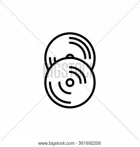 Old Cd Record Outline Icon. Vector Illustration Line Design Style For Web, Mobile And Infographics.