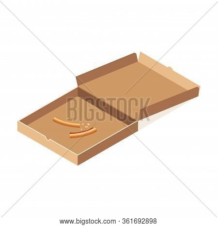 Pizza Crusts In Opened Carton Box Isometric Isolated On White Background. 3d Fast Food Scraps Icon.