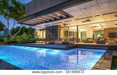3D Rendering Of Modern House With Wood Plank Facade In Night