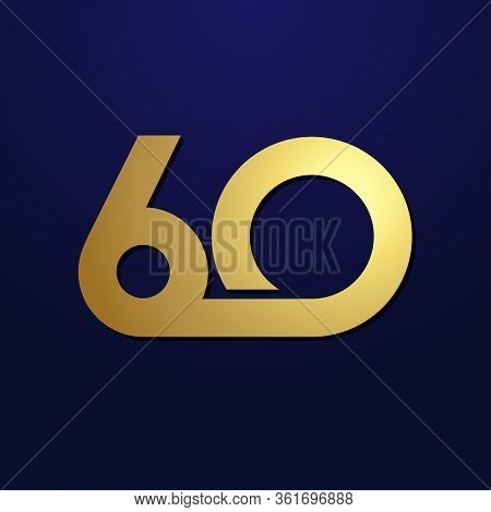 60 Th Anniversary Numbers. 60 Years Old Logotype. Shining Golden Congrats. Isolated Abstract Graphic