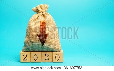 Money Bag With Down Arrow And Wooden Blocks 2020. Economic Crisis And Recession. Bankruptcy And Fina