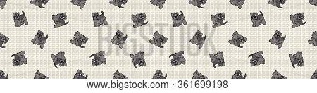 Hand Drawn Cute Schnauzer Puppy Breed Seamless Border Pattern. Purebred Pedigree Domestic Dog Backgr