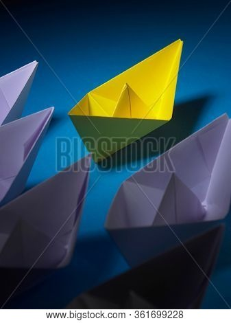 Yellow Leader Paper Boat Leading Group Of Paper Boates