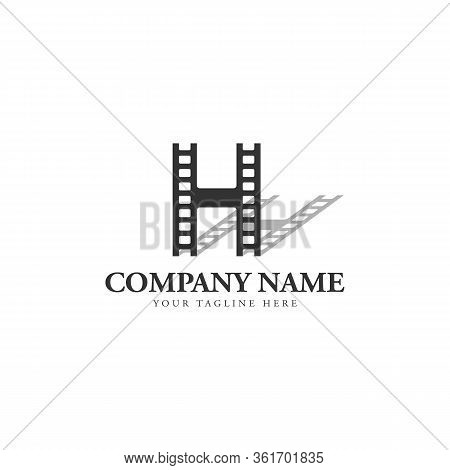 Initial Letter H With Film Strip Logo Design Vector Illustration. Abstract Letter H Logo With Shadow