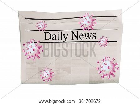 Coronavirus Covid-19 News. Newspaper With Headline Daily News On Horizontal Surface With Flying Viru