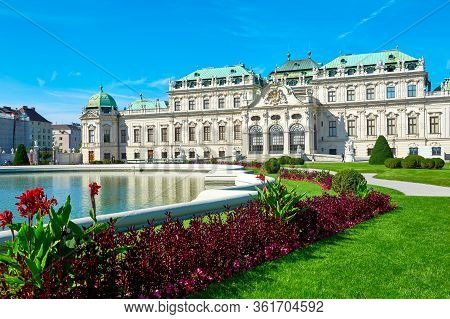 Vienna, Austria - September 2018: Park View On Belvedere Palace
