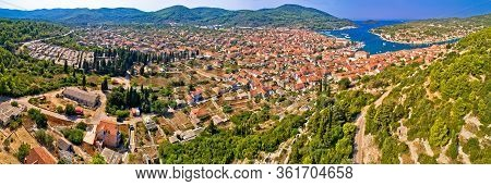 Town Of Vela Luka On Korcula Island Aerial Panoramic View, Archipelago Of Southern Dalmatia, Croatia