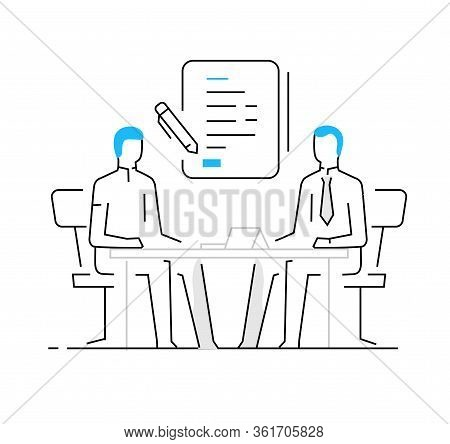 Woman Signing A Contract. Work On A Startup, Investing, Profit. Success, Cooperation. Vector Illustr