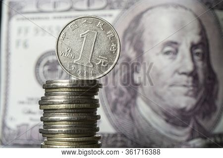 Dollars And Chinese Yuan. Concept Of Currency Exchange. Economic Crisis, Decline Of The World Econom