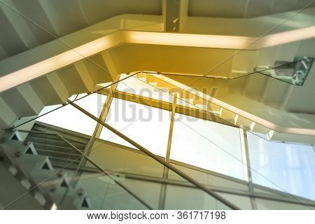 Staircase Open In The Interior Of The Atrium Space, Perspective, Blurred Background