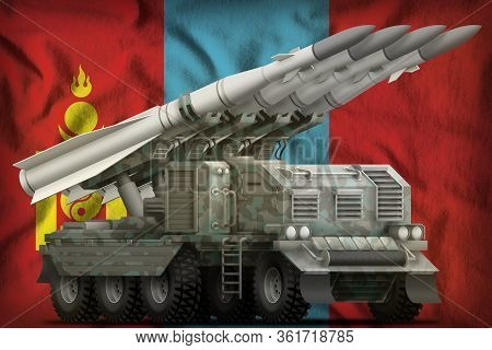 Tactical Short Range Ballistic Missile With Arctic Camouflage On The Mongolia Flag Background. 3d Il