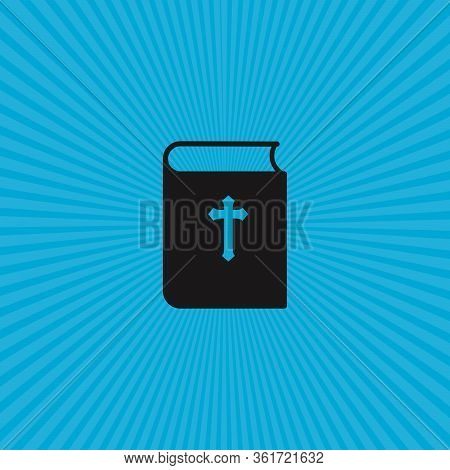 Bible Book Icon With Sun Rays. Mission, Bible Society. Stock Vector Illustration Isolated On White B