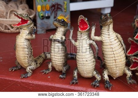 Stuffed Beautiful Small Crocodiles On A Concrete Parapet. Toys, Traditions, Items.