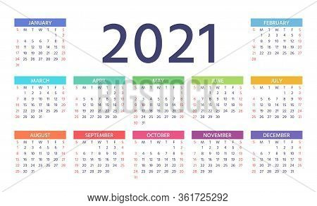 Calendar 2021 Year. Week Starts Sunday. Vector. Stationery Template. Yearly Calender Organizer With