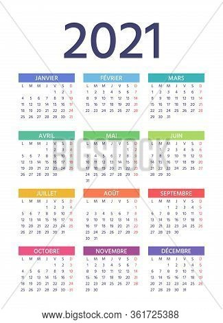 French Calendar 2021 Year. Week Starts Monday. Vector. Simple Template Of Pocket Or Wall France Cale