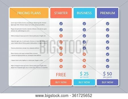 Table Price Template. Comparison Plan Chart. Vector. Pricing Data Grid With 3 Columns. Checklist Com