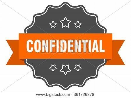 Confidential Isolated Seal. Confidential Orange Label. Confidential