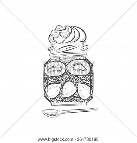 Chia Pudding Vector Seamless Pattern. Chia Dessert With Whipped Cream On Top With Spoon Hand Drawn I