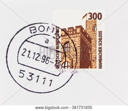Seattle Washington - April 16, 2020: Close Up Of Germany Stamp Featuring Hambach Schloss, On Envelop