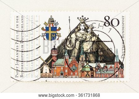 Seattle Washington - April 15, 2020: Close Up German Stamp Featuring Our Lady Of Luxembourg, Commemo