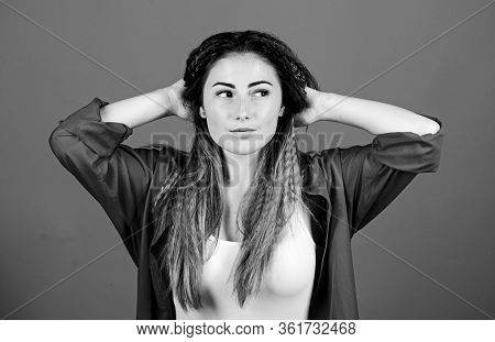 Crimped Hairstyle. Girl Stylish Hairstyle On Blue Background. Self Care. Extra Volume. Hair Crimping