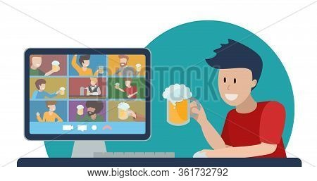 Concept Of Online Party With Beer. Teleconference With Friends. Oktomberfest At Home During Quaranti