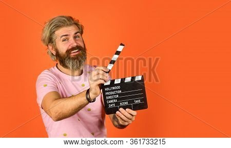 Film Director Concept. Catch The Feeling. Professional Actor Ready For Shoot. Ready To Film New Scen