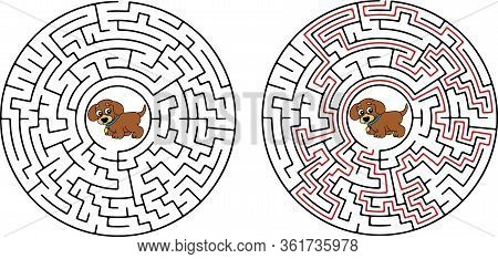 Maze Game For Kids Vector Labyrinth, Maze, Game, Way, Dog, Illustration