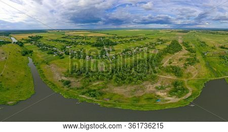 360-degree Pano Of Aerial View Over The Middle Of A Large River. Summer Colourful Landscape