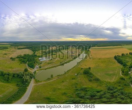 360-degree Pano Of Beautiful Rural Landscape With River And Blue Sky. Drone View