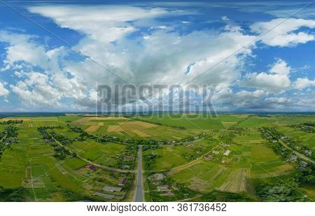 360-degree Pano Of Aerial View Of A Beautiful Landscape With White Clouds In The Colorful Sky