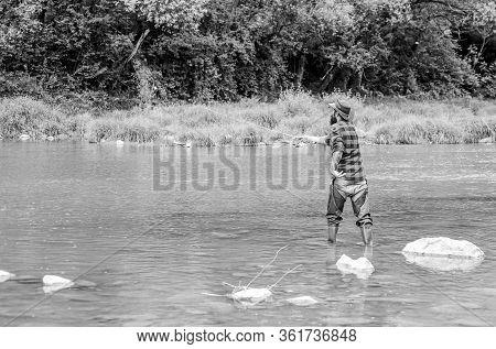 Man Bearded Fisherman. Fisherman Fishing Equipment. Hobby Sport Activity. River Lake Lagoon Pond. Tr