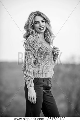 Gorgeous Lady Feeling Cozy In Woolen Sweater. Trendy Clothes. Woman Warm Sweater Nature Background D