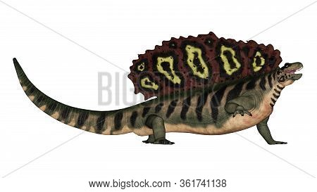 Edaphosaurus Prehistoric Animal Roaring Isolated In White Background - 3d Render