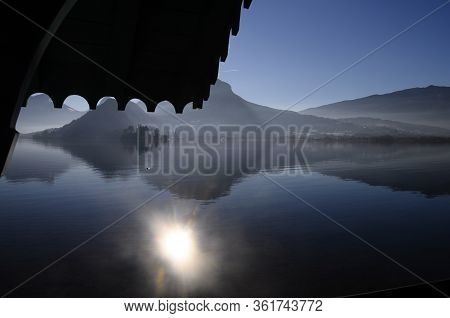 Large View Of Annecy Lake And Mountains From Talloires Beach, France